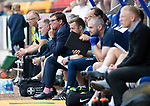 St Johnstone v Livingston….10.08.19      McDiarmid Park     SPFL <br />Tommy Wright watches the game from the dugiut<br />Picture by Graeme Hart. <br />Copyright Perthshire Picture Agency<br />Tel: 01738 623350  Mobile: 07990 594431