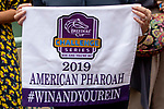 """ARCADIA, CA  SEPTEMBER 27: Breeders' Cup  'Win and You're In"""" saddle towel after winning the American Pharoah Stakes (Grade 1) """"Win and You're In Breeders' Cup Juvenile Division"""" on September 27, 2019 at Santa Anita Park in Arcadia, CA. (Photo by Casey Phillips/Eclipse Sportswire/CSM)"""