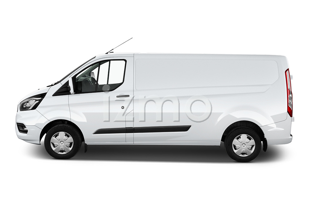 Car Driver side profile view of a 2021 Ford Transit-Custom Trend 4 Door Cargo Van Side View
