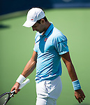 Novak Djokovic (SRB) loses to Tommy Robredo (ESP) at the Western & Southern Open by 76(6) 75 in Mason, OH on August 14, 2014.