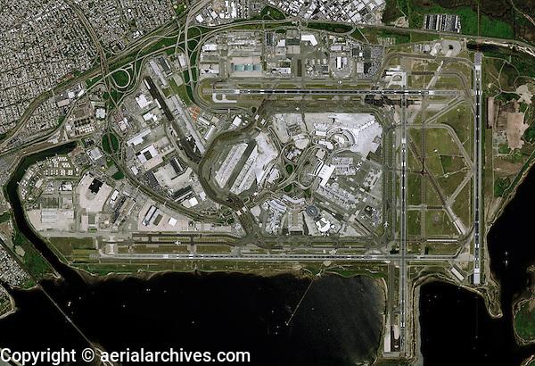 aerial photo map of John F Kennedy International airport (JFK), Queens, New York