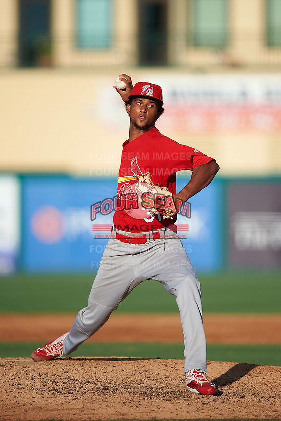 Palm Beach Cardinals starting pitcher Sandy Alcantara (31) during a game against the Jupiter Hammerheads on August 13, 2016 at Roger Dean Stadium in Jupiter, Florida.  Jupiter defeated Palm Beach 6-2.  (Mike Janes/Four Seam Images)