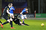 St Johnstone v Livingston…12.12.20   McDiarmid Park      SPFL<br />Callum Hendry is tackled by Jack Fitzwater<br />Picture by Graeme Hart.<br />Copyright Perthshire Picture Agency<br />Tel: 01738 623350  Mobile: 07990 594431
