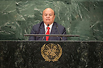 Yemen<br /> H.E. Mr. Abdrabuh Mansour Hadi Mansour<br /> President<br /> <br /> <br /> General Assembly Seventy-first session, 17th plenary meeting<br /> General Debate