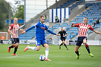 Ben Stevenson of Colchester United finishes to score the opening goal during Colchester United vs Oldham Athletic, Sky Bet EFL League 2 Football at the JobServe Community Stadium on 3rd October 2020