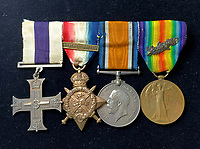 Medals of a tragic 'speed demon' World War One officer who was killed in a car crash are being sold.