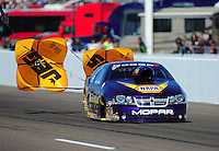 Feb. 18, 2012; Chandler, AZ, USA; NHRA pro stock driver Vincent Nobile during qualifying for the Arizona Nationals at Firebird International Raceway. Mandatory Credit: Mark J. Rebilas-