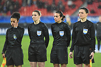 20200304 Valenciennes , France : referee Victoria Beyer with assistant referee Jennifer Maubacq and Stephanie Di Benedetto  pictured during the female football game between the national teams of The Netherlands and Brasil on the first matchday of the Tournoi de France 2020 , a prestigious friendly womensoccer tournament in Northern France , on wednesday 4 th March 2020 in the Stade du Hainaut of Valenciennes , France . PHOTO SPORTPIX.BE | DIRK VUYLSTEKE