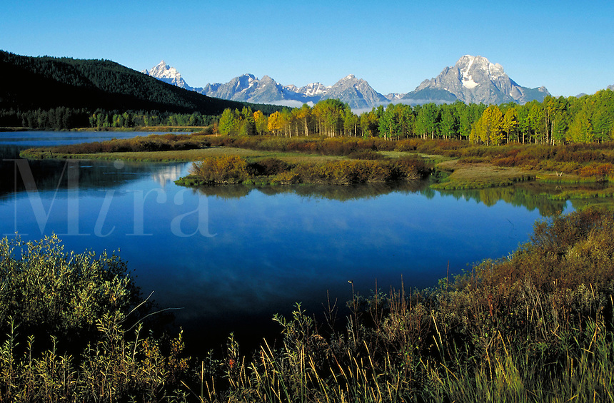 Mt. Moran, Teton Mountains, Oxbow Bend, Grand Teton National Park, Wyoming. Jackson Hole Wyoming, Grand Teton National Park, Mt. Moran, Oxbow Bend.