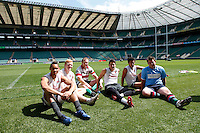 Photo: Richard Lane/Richard Lane Photography. .Emirates Airline Media training day with the England Sevens team at Twickenham. 13/05/2011. England Sevens players with England Supporters Club members.