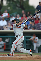 Seth Harrison (48) of the San Jose Giants bats during a game against the Inland Empire 66ers at San Manuel Stadium on May 30, 2015 in San Bernardino, California. Inland Empire defeated San Jose, 6-4. (Larry Goren/Four Seam Images)
