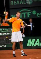 20-9-09, Netherlands,  Maastricht, Tennis, Daviscup Netherlands-France, Thiemo de Bakker  uit zijn frustratie