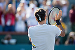 March 11, 2018: Roger Federer (SUI) acknowledges the crowd as he defeated Federico Delbonis (ARG) 6-3, 7-6 (6) at the BNP Paribas Open played at the Indian Wells Tennis Garden in Indian Wells, California. ©Mal Taam/TennisClix/CSM