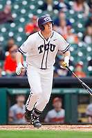 Kevin Cron #00 of the Texas Christian Horned Frogs starts down the first base line against the Sam Houston State Bearkats at Minute Maid Park on February 28, 2014 in Houston, Texas.  The Bearkats defeated the Horned Frogs 9-4.  (Brian Westerholt/Four Seam Images)