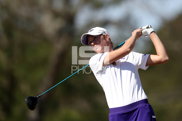 WALLACE, NC - MARCH 09: Samantha Vodry of High Point University tees off on the 14th hole of the River Course at River Landing Country Club on March 09, 2020 in Wallace, North Carolina.