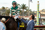 """DEL MAR, CA  AUGUST 17:  #6 Higher Power, ridden by Flavien Prat. Returns to the connections after winning the TVG Pacific Classic (Grade 1) """"Win and You're In Breeders' Cup Classic Division"""" on August 17, 2019 at Del Mar Thoroughbred Club in Del Mar, CA. (Photo by Casey Phillips/Eclipse Sportswire/CSM)"""