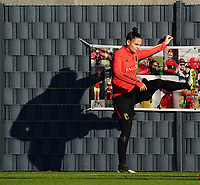 20200911 - TUBIZE , Belgium : Goalkeeper Nicky Evrard warms up during the training session of the Belgian Women's National Team, Red Flames ahead of the Women's Euro Qualifier match against Switzerland, on the 28th of November 2020 at Proximus Basecamp. PHOTO: SEVIL OKTEM | SPORTPIX.BE