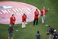 Pete Rose, Joe Morgan, Barry Larkin, and Johnny Bench during the Franchise Four introductions before the MLB All-Star Game on July 14, 2015 at Great American Ball Park in Cincinnati, Ohio.  (Mike Janes/Four Seam Images)