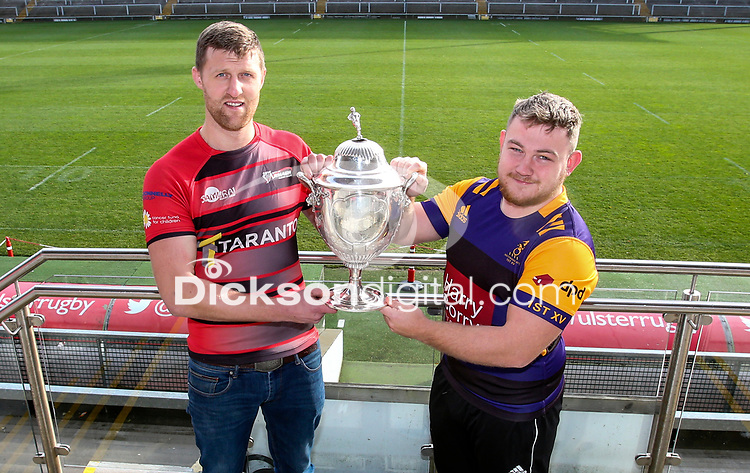 Monday 11th November 2019<br /> <br /> Pictured L-R are City of Armagh RFC 2s Captain John Faloon and Instonians RFC vice-captain David Scott pictured at the Semi-Final draw of this seasons MMW Legal Ulster Junior Cup which was held at Kingspan Stadium, Ravenhill Park, Belfast, Northern Ireland. Photo credit - John Dickson DICKSONDIGITAL