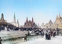 Май 1896. Народные гуляния в дни коронационных торжеств на Красной площади. Москва. Российская Империя.
