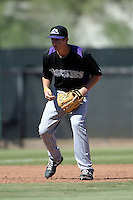 Colorado Rockies third baseman Ryan McMahon (80) during an instructional league game against the Los Angels Angels of Anaheim on September 30, 2013 at Tempe Diablo Stadium Complex in Tempe, Arizona.  (Mike Janes/Four Seam Images)