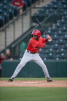 AZL Angels second baseman Daniel Ozoria (23) at bat during an Arizona League game against the AZL Diamondbacks at Tempe Diablo Stadium on June 27, 2018 in Tempe, Arizona. The AZL Angels defeated the AZL Diamondbacks 5-3. (Zachary Lucy/Four Seam Images)