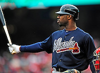 31 March 2011: Atlanta Braves right fielder Jason Heyward in action during Opening Day play against the Washington Nationals at Nationals Park in Washington, District of Columbia. The Braves shut out the Nationals 2-0 to start off the 2011 Major League Baseball season. Mandatory Credit: Ed Wolfstein Photo