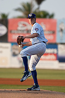 Pitcher Zach Cates #21 of the Daytona Cubs delivers a pitch during the game against the Dunedin Blue Jays at Jackie Robinson Ballpark on April 9, 2012 in Daytona Beach, Florida. (Scott Jontes / Four Seam Images)