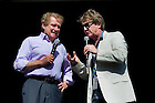 Jan. 7, 2013; Former TV host, Regis Philbin and actor Martin Short on stage during Notre Dame Game Day at Bayfront Park in Miami, Florida. Photo by Barbara Johnston/University of Notre Dame