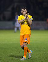 Matt Bloomfield of Wycombe Wanderers applauds the support during the Johnstone's Paint Trophy match between Bristol Rovers and Wycombe Wanderers at the Memorial Stadium, Bristol, England on 6 October 2015. Photo by Andy Rowland.