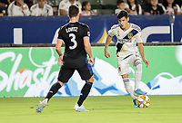 CARSON, CA - SEPTEMBER 21: Uriel Antuna #18 of the Los Angeles Galaxy moves with the ball during a game between Montreal Impact and Los Angeles Galaxy at Dignity Health Sports Park on September 21, 2019 in Carson, California.