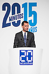 """King Felipe VI of Spain during the main event of the XV Aniversary of the """"20Minutos"""" newspaper at Headquarters of the Community of Madrid, November 24, 2015<br /> (ALTERPHOTOS/BorjaB.Hojas)"""