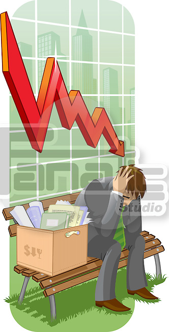 Businessman sitting with his belongings on a bench in front of a downward line graph