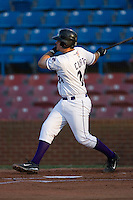 John Curtis #24 of the Winston-Salem Dash follows through on his swing versus the Salem Red Sox at Wake Forest Baseball Stadium July 7, 2009 in Winston-Salem, North Carolina. (Photo by Brian Westerholt / Four Seam Images)
