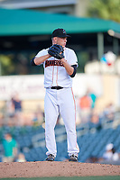 Jupiter Hammerheads relief pitcher Drew Rucinski (5) gets ready to deliver a pitch during a game against the Palm Beach Cardinals on August 4, 2018 at Roger Dean Chevrolet Stadium in Jupiter, Florida.  Palm Beach defeated Jupiter 7-6.  (Mike Janes/Four Seam Images)