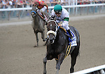 Tar Heel Mom (no. 3), ridden by Alex Solis and trained by Stanley Hough, wins the 20th running of the grade 2 Honorable Miss Handicap for fillies and mares three years old and upward on August 7, 2011 at Saratoga Race Track in Saratoga Springs, New York.  (Bob Mayberger/Eclipse Sportswire)