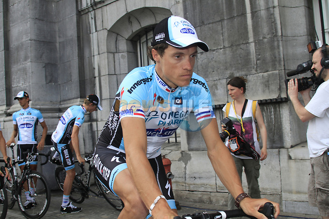 Omega Pharma-Quick Step rider Sylvain Chavanel (FRA) heads for the stage at the Team Presentation Ceremony before the 2012 Tour de France in front of The Palais Provincial, Place Saint-Lambert, Liege, Belgium. 28th June 2012.<br /> (Photo by Eoin Clarke/NEWSFILE)