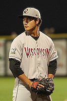 Wisconsin Timber Rattlers pitcher Kodi Medeiros (16) during a Midwest League game against the Quad Cities River Bandits on May 8th, 2015 at Modern Woodmen Park in Davenport, Iowa.  Quad Cities defeated Wisconsin 11-6.  (Brad Krause/Four Seam Images)