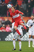 Bridgeview, IL - Saturday April 14, 2018: Elliot Collier during a regular season Major League Soccer (MLS) match between the Chicago Fire and the LA Galaxy at Toyota Park.  The LA Galaxy defeated the Chicago Fire by the score of 1-0.