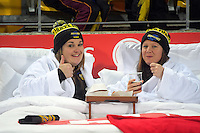 Fans in a Rydges promotional bed during the Super Rugby match between the Hurricanes and Blues at Westpac Stadium, Wellington, New Zealand on Saturday, 2 July 2016. Photo: Dave Lintott / lintottphoto.co.nz