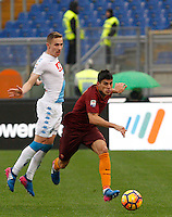 Roma's Diego Perotti, right, is challenged by Napoli's Marko Rog during the Italian Serie A football match between Roma and Napoli at Rome's Olympic stadium, 4 March 2017. <br /> UPDATE IMAGES PRESS/Riccardo De Luca