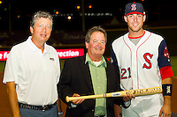 """Travis Shaw (right) of the Salem Red Sox accepts his """"Top Star Award"""" from Winston-Salem Dash owner Billy Prim (right) and Carolina League President John Hopkins (center) at BB&T Ballpark on June 19, 2012 in Winston-Salem, North Carolina.  The Carolina League defeated the California League 9-1.  (Brian Westerholt/Four Seam Images)"""