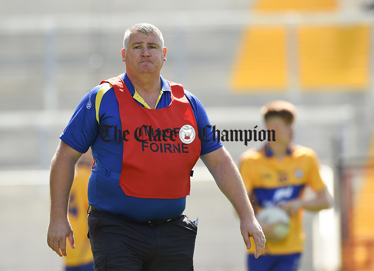 Coach Brendan Rouine before their Munster Minor football final against Kerry at Pairc Ui Chaoimh. Photograph by John Kelly.