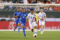 PHILADELPHIA, PENNSYLVANIA - JUNE 30: Kenji Gorré #14, Weston McKennie #8 during the 2019 CONCACAF Gold Cup quarterfinal match between the United States and Curacao at Lincoln Financial Field on June 30, 2019 in Philadelphia, Pennsylvania.