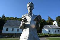 CROATIA, Smiljan, Nikola Tesla Museum, birth place of inventor and physican Nikola Tesla born 10.7.1856, died 7.1.1943 / KROATIEN, Smiljan, Nikola Tesla Museum, der Erfinder und Physiker Nikola Tesla wurde hier 1856  geboren, nach Nikola Tesla ist seit 1960 die physikalische Einheit der magnetischen Flussdichte benannt, nach Nikola Tesla benannte sich Tesla Inc. von Elon Musk, dem kalifornischen Hersteller von Elektroautos mit Wechselstrommotor