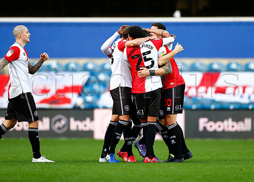 31st October 2020; The Kiyan Prince Foundation Stadium, London, England; English Football League Championship Football, Queen Park Rangers versus Cardiff City; QPR players celebrating goal two from Kane in the 27th minute
