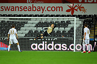 Pictured: Goalkeeper Gerhard Tremmel (C) of Swansea makes a spectacular save. Tuesday 28 August 2012<br /> Re: Capital One Cup game, Swansea City FC v Barnsley at the Liberty Stadium, south Wales.