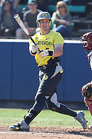 Scott Heineman #6 of the Oregon Ducks bats against the Loyola Marymount Lions at Page Stadium on February 23, 2014 in Los Angeles, California. Oregon defeated Loyola, 4-3. (Larry Goren/Four Seam Images)