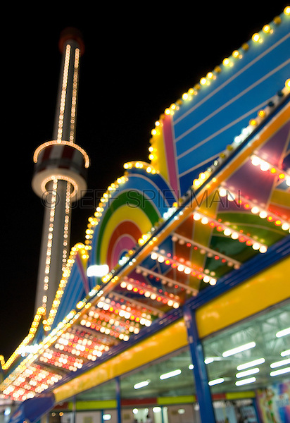 AVAILABLE FROM JEFF AS A FINE ART PRINT.<br /> <br /> AVAILABLE FROM JEFF FOR LICENSING.<br /> <br /> Amusement Park at Night, Coney Island, Brooklyn, New York City, New York State, USA