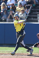 Kyle Garlick #4 of the Oregon Ducks bats against the Loyola Marymount Lions at Page Stadium on February 23, 2014 in Los Angeles, California. Oregon defeated Loyola, 4-3. (Larry Goren/Four Seam Images)